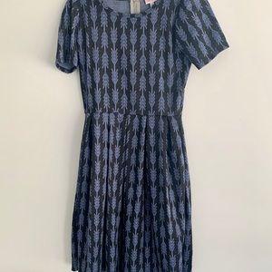 Lularoe Amelia Dress- grey and blue boho design